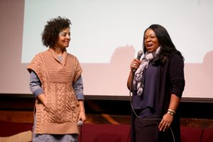 Danielle Rose, of Level Playing Field Institute, left, and Toni Vanwinkle, of Adobe, speak during a panel discussion hosted by the National Society of Black Engineers at Impact Hub in Oakland, Calif., on Thursday, Feb. 2, 2017. Hidden Figures cast member Karan Kendrick among other was one of the panelists who spoke, too. The film is based on the story of three African-American women working at NASA in the early 1960s. (Ray Chavez/Bay Area News Group)